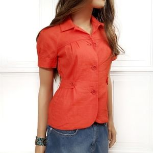 THEORY Linen Button Up Short Sleeve Jacket Top 0